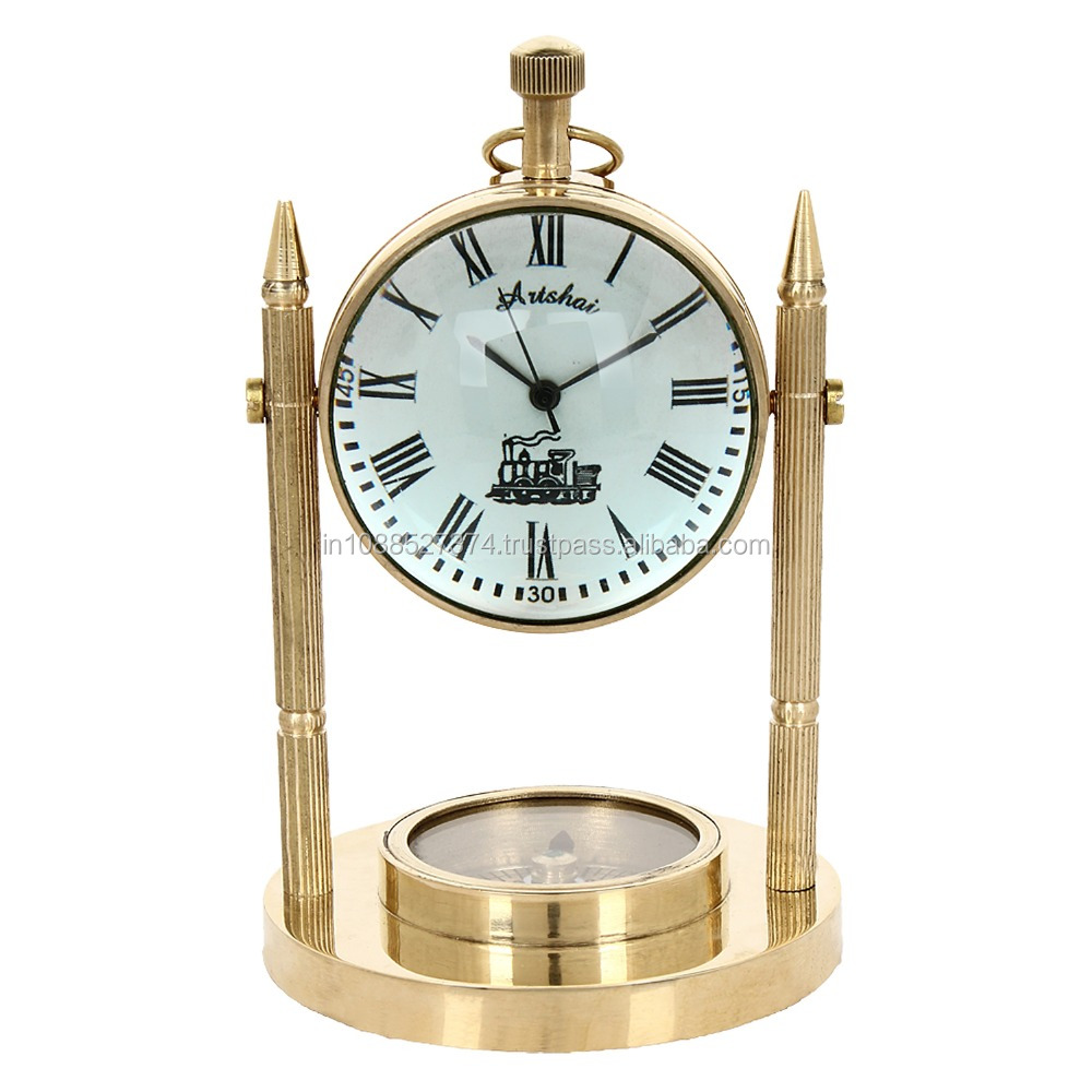 Artshai Antique look brass made table clock with compass base