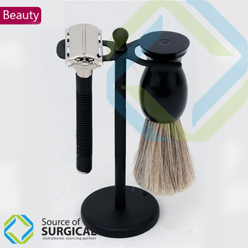 Safety Razors with Stands and Shaving Brush Complete Set With Twist handle to open for blade