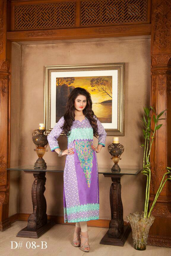 Lilac colored long Pakistani embroidered kurti Batik design no. 08-B / embroidered kurtis manufacturer