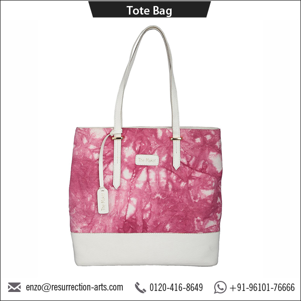 Pink Tie-Dye Canvas Tote Bag with Leather Handle and YKK Zipper