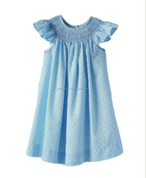 Blue bishop hand smocked dress for baby and girl