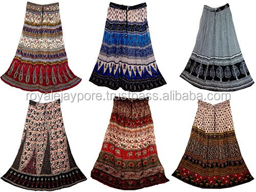 Rayon Long Hippy Gypsy Skirts Girls Indian Traditional Wrinkled Hippie Long Skirt Broomstick summer skirts
