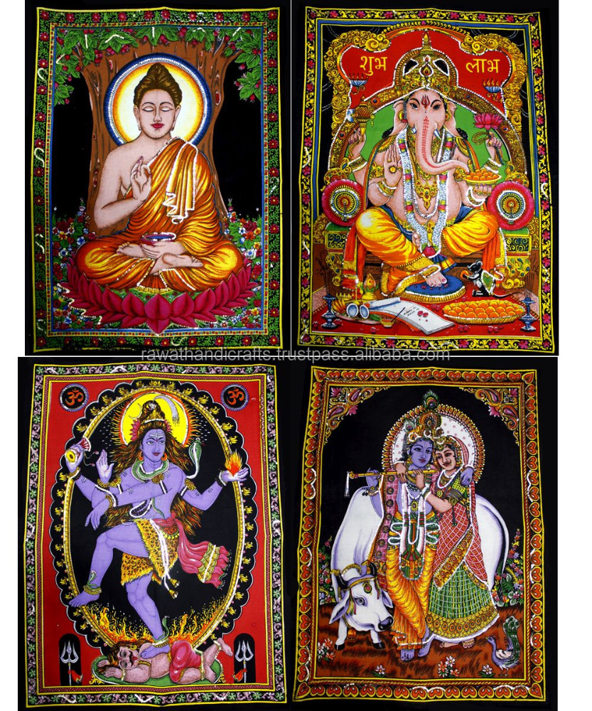 Indian Gods & Goddess Sitara Batik Cotton Wall Hangings Wholesale lot (Medium)WH-206