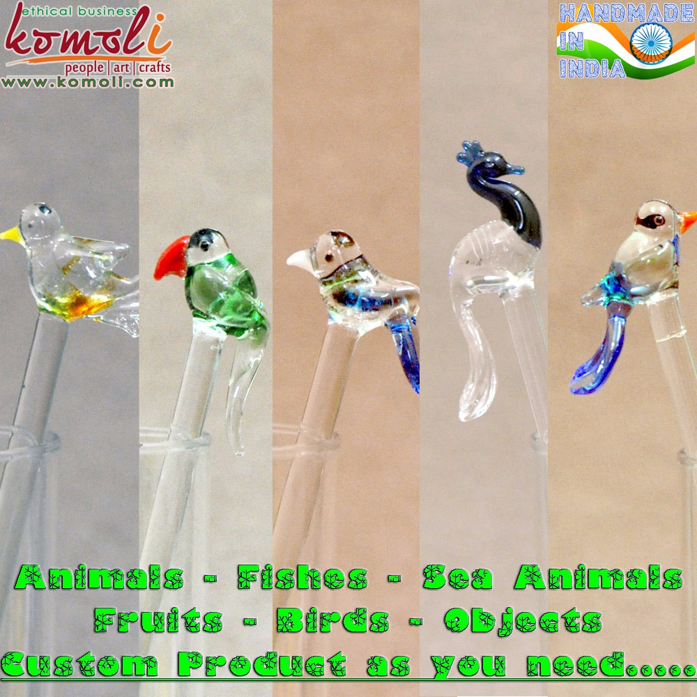 Colorful glass bird figurines christmas decoration ornament