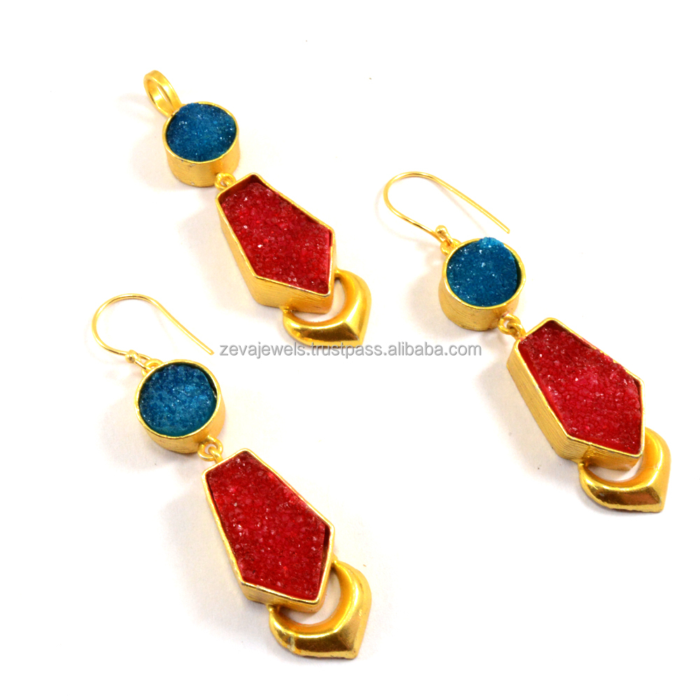 Latest Fine Fashion Jewelry Sugar Druzy Natural Stone Pendant Earring Set 2017 Design Wholesale India 1197