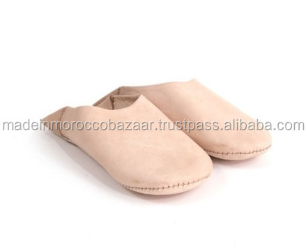 Vintage Moroccan Handmade Genuine Leather Babouche Slippers With Leather Sole