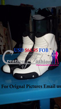 Leather motorcycle racing Motogp boot white blue black