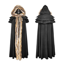 Y-673 Punk Rave Women's black overbearing winter long cloak with fur