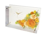 Art clock with preserved flower
