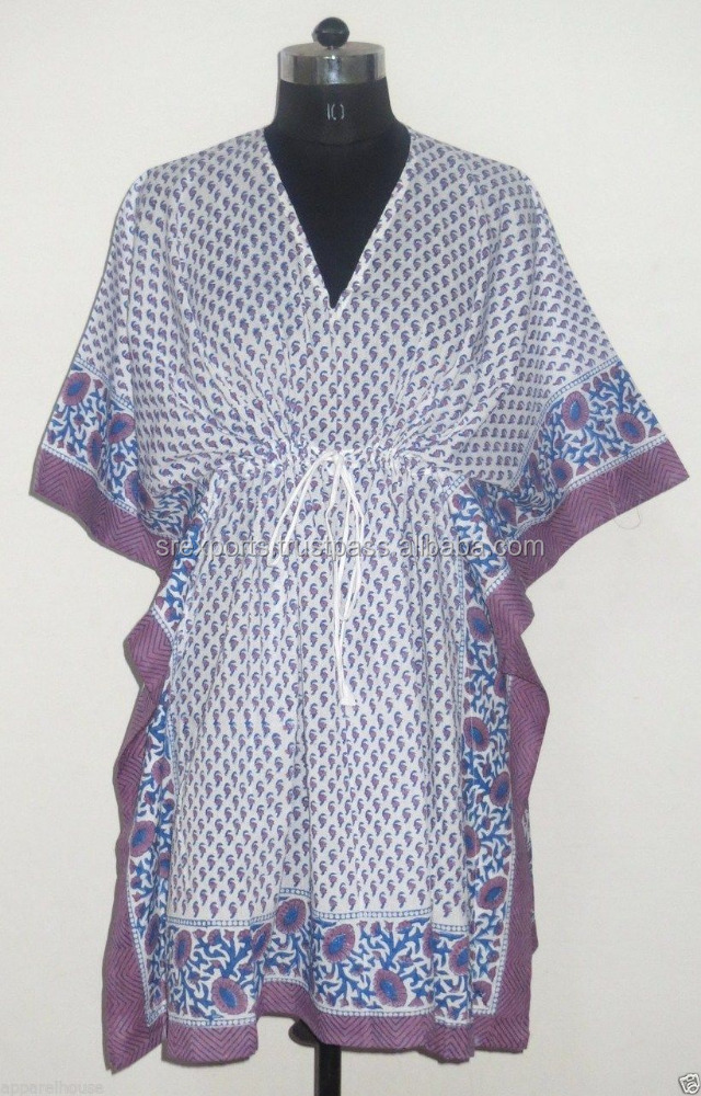 Indian Cotton Hand Block Printed Kaftan Women Sexy Fashionable Caftan Designer Casual Wear Poncho Girls Kaftan