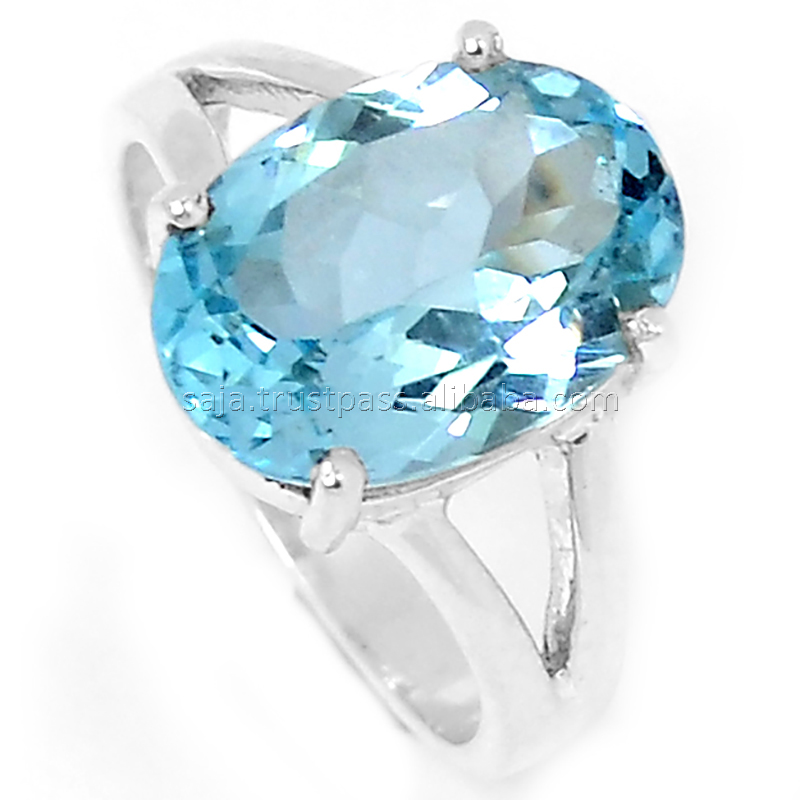 Blue Topaz natural stone, Blue Topaz ring, Blue topaz stone 925 silver ring