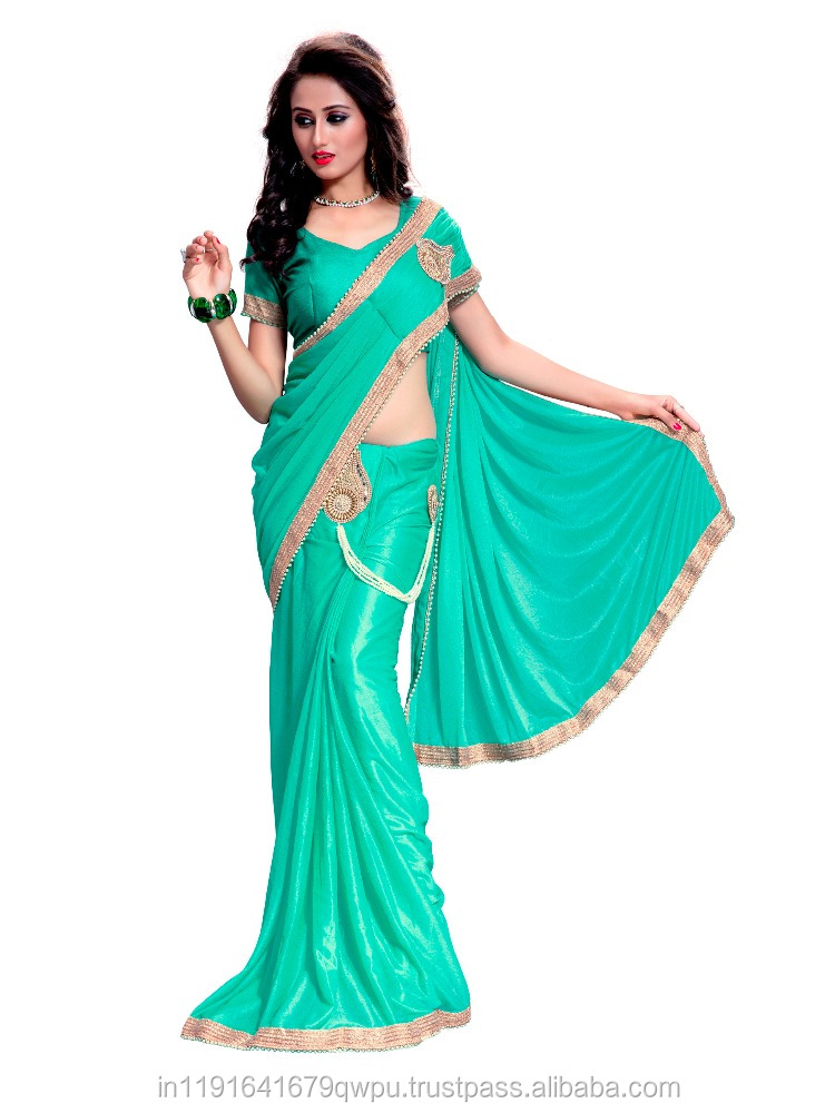 Embroidery Saree In Lycra Fabric/Party Wear Wedding Wear Saree