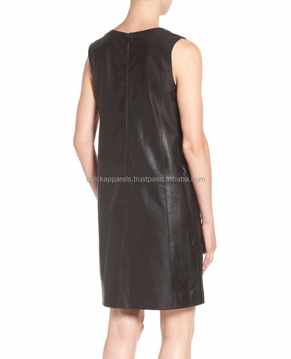 OEM Customized Women PU Leather Bodycon Midi Dress Zip Up Fashion Dress