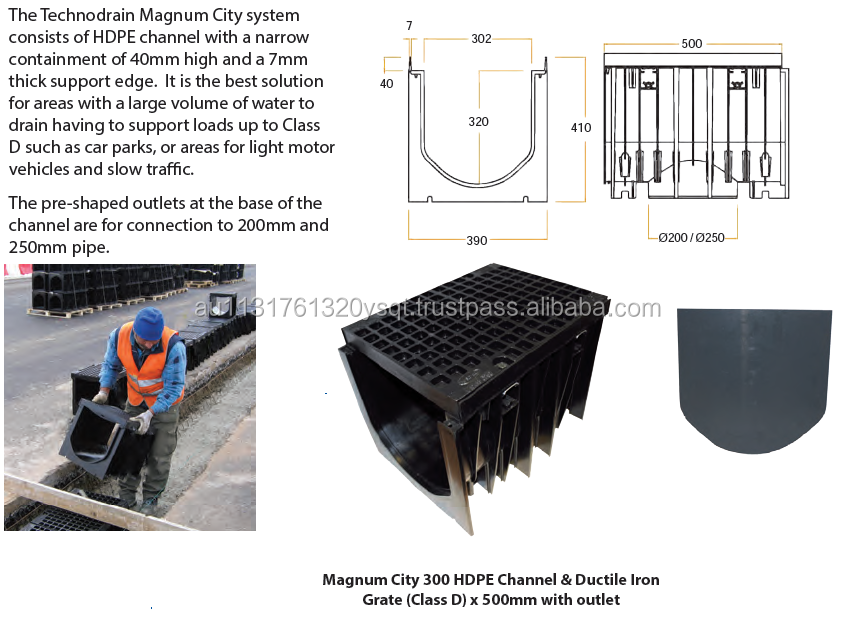 300mm x 500mm Channel + Class D Ductile Iron Grate