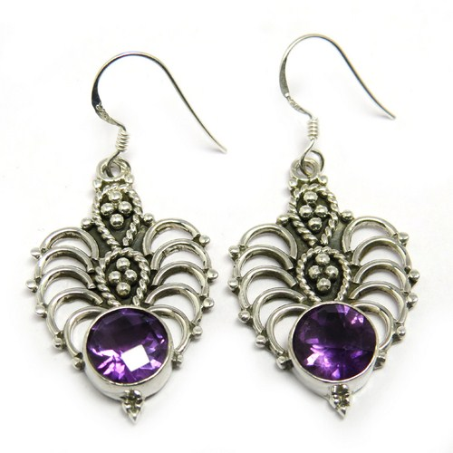 Impressive Purple Amethyst 925 Sterling Silver Earring, Handcrafted Silver Jewelry, Indian Wholesalers Silver Jewelry