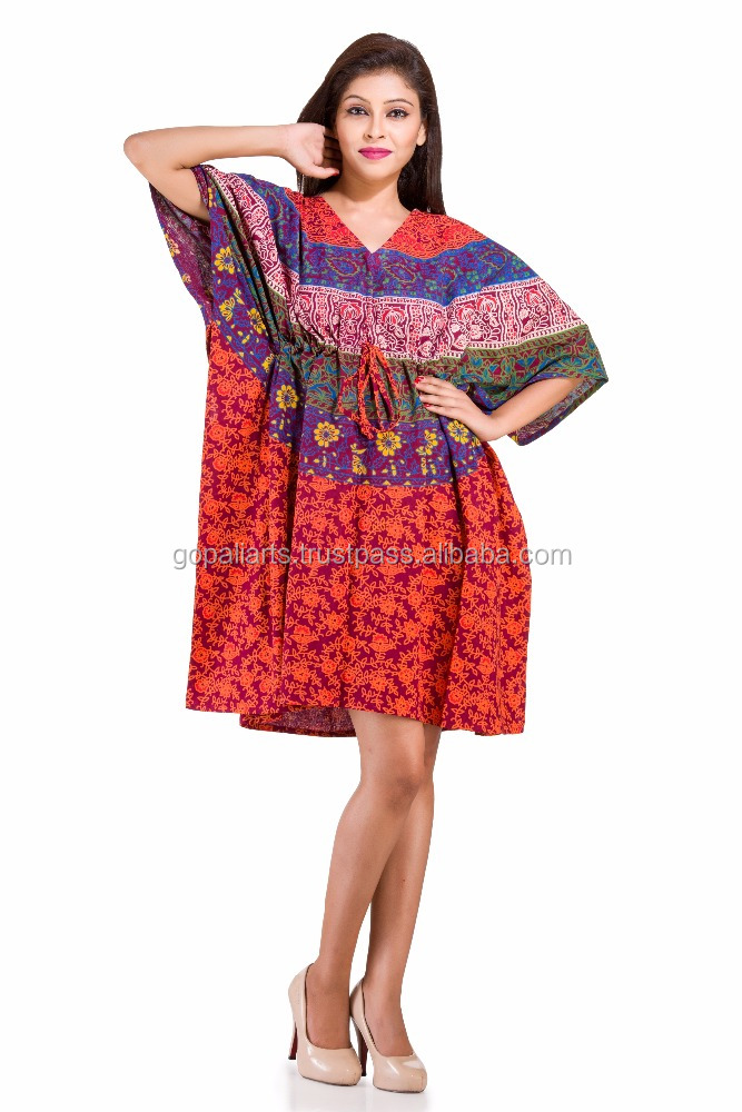 Stylish Short Kaftan Dress Indian Handmade Mandala Beach Bikini Wear Cover Maxi Gown Indian Women Caftan Short Dress