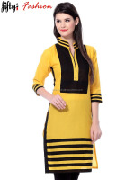 Collar Neck Yellow and Black Color Short Kurtis