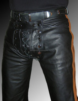 Cod piece Leather trousers new black brown stripes mens gay leather pants
