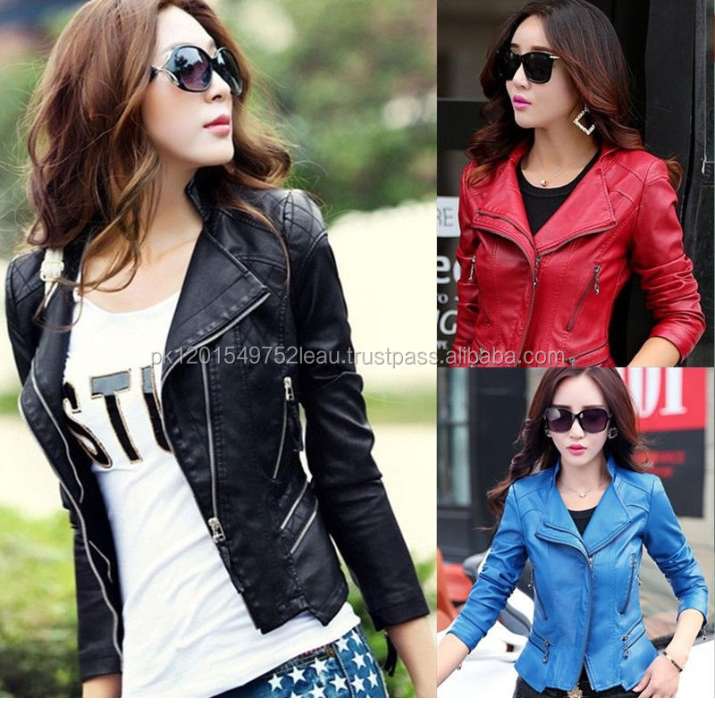 Summer Spring Autumn Solid Color Zipper moterbike Women Casual Leather Jacket
