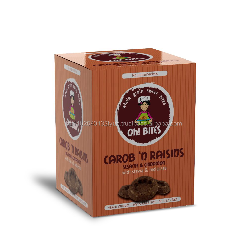 Stevia sweet biscuites with carob, cinnamon, sesame and raisins no sugar no preservatives