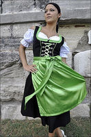 Green & Black Apron Dirndl with white blouse trachten traditional dirndl DRESS