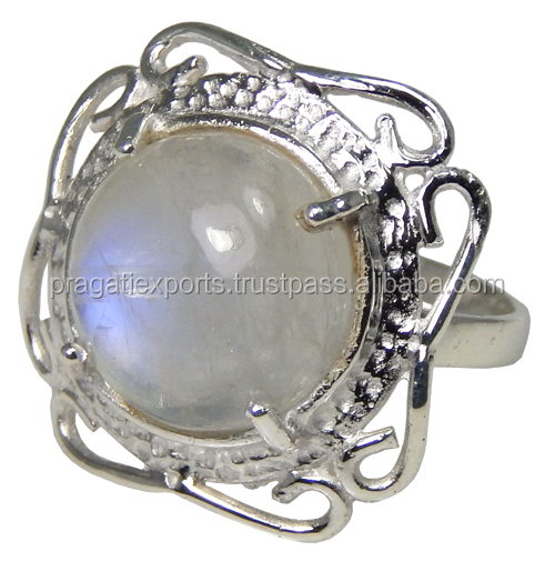 Authentic Jewelry Rainbow Moonstone Gemstone 925 Sterling Silver Ring