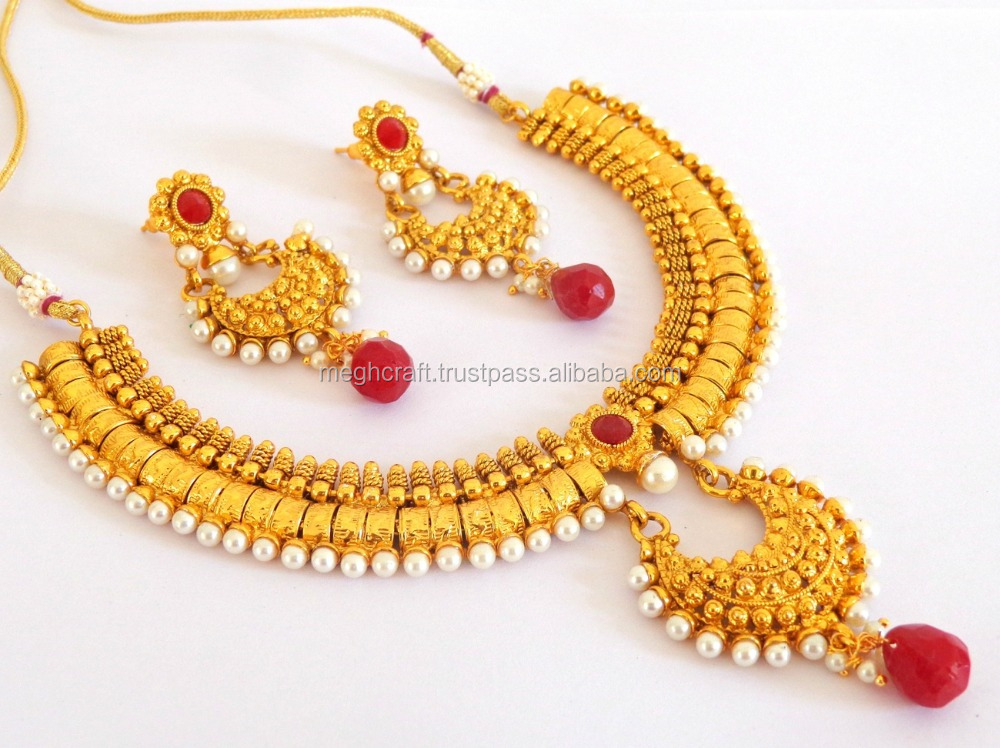 One Gram Gold Plated Chandelier Necklace set-South Indian Gold Plated Bridal Necklace Set-Wholesale Pakistani Wedding Jewellery