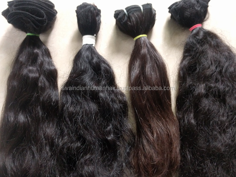 Natural Curly Virgin Remy Indian Hair Weft Sewing Machine Natural Pure Color, Wholesale Price