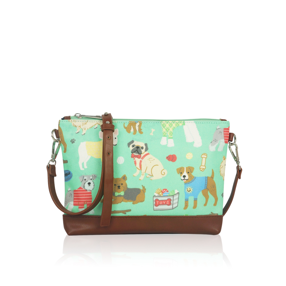 Wholesale Teenage Girls Mini Crossbody Bag, Women Mixed Dog Canvas Travel Handbag