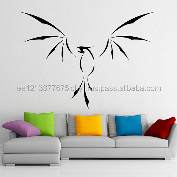 Vinyl Wall Decal Phoenix With Open Wings Fire Bird Art Decor Home Sticker Volcano Lava Fenix DIY Mural