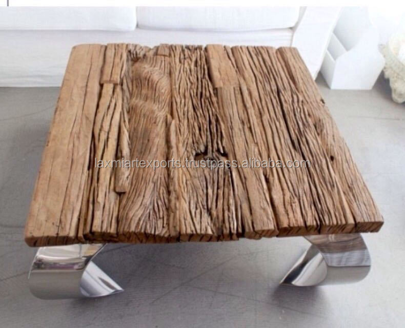 Indian Railway Sleeper wood End Table Coffee table with metal curved leg Manufacturer Wholesale Supplier