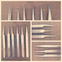 Eyelash Extensions Needle Nose Tweezers Straight Curved For Individual Set / Eyelash Extension Tweezers