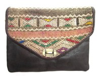 Discount Handmade Genuine Leather And Kilim Clutch Bag
