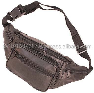 2015 New fashion Black Large 5 Pocket Fanny Pack for mens