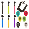 Selfie stick with or without bluetooth remotes for phones and cameras