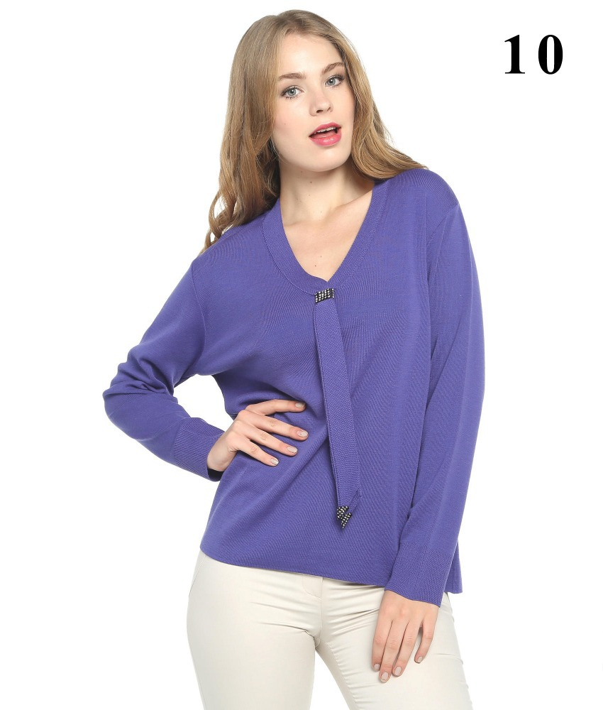 women stone tie accessories purple color sweater