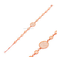 Silver Zircon Circle Bracelet, Wholesale Adjustable Rose Gold Plated Turkish Jewelry