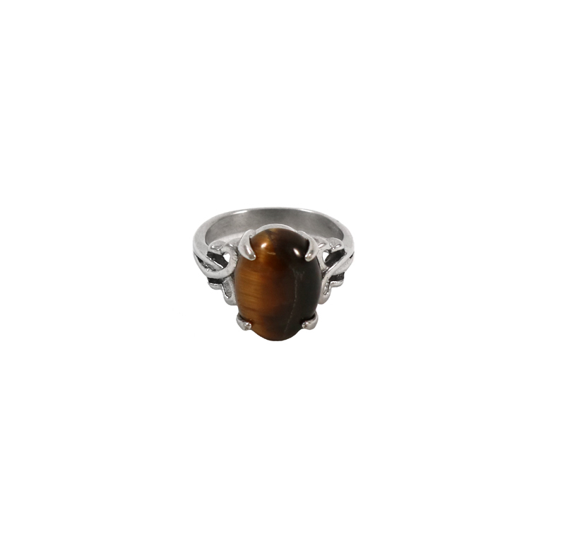 natural oval tiger eye stone ring german silver jewelry