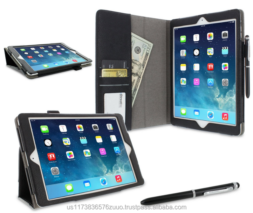 Dual-Station Slim Folding Premium PU Leather Folio Case, Smart Cover Auto Sleep/Wake; for iPad Air 1 roocase