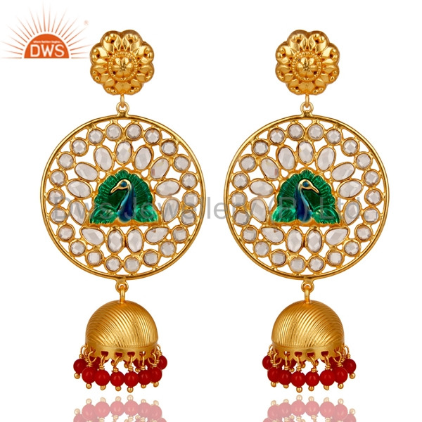 Peacock Designer Traditional Jhumkas Earrings Coral And CZ Gemstone Earrings Manufacturers of Gold Plated 925 Silver Jewelry