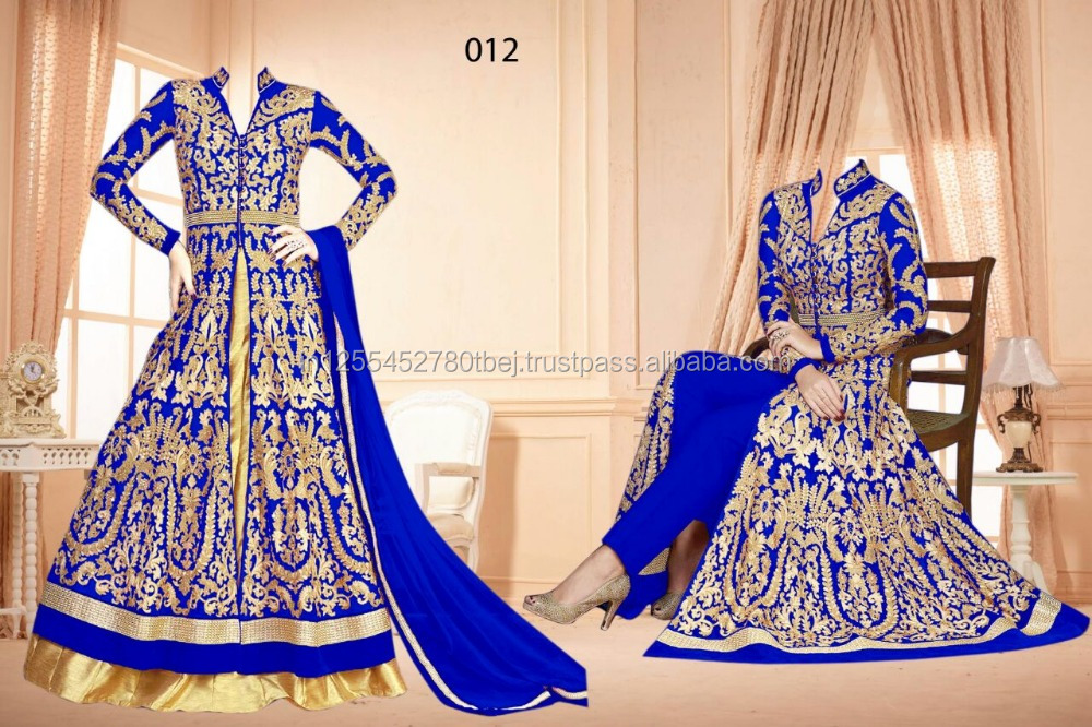 Colored Georgette Embroidered Party Ware Semi-Stitched Salwar Suit