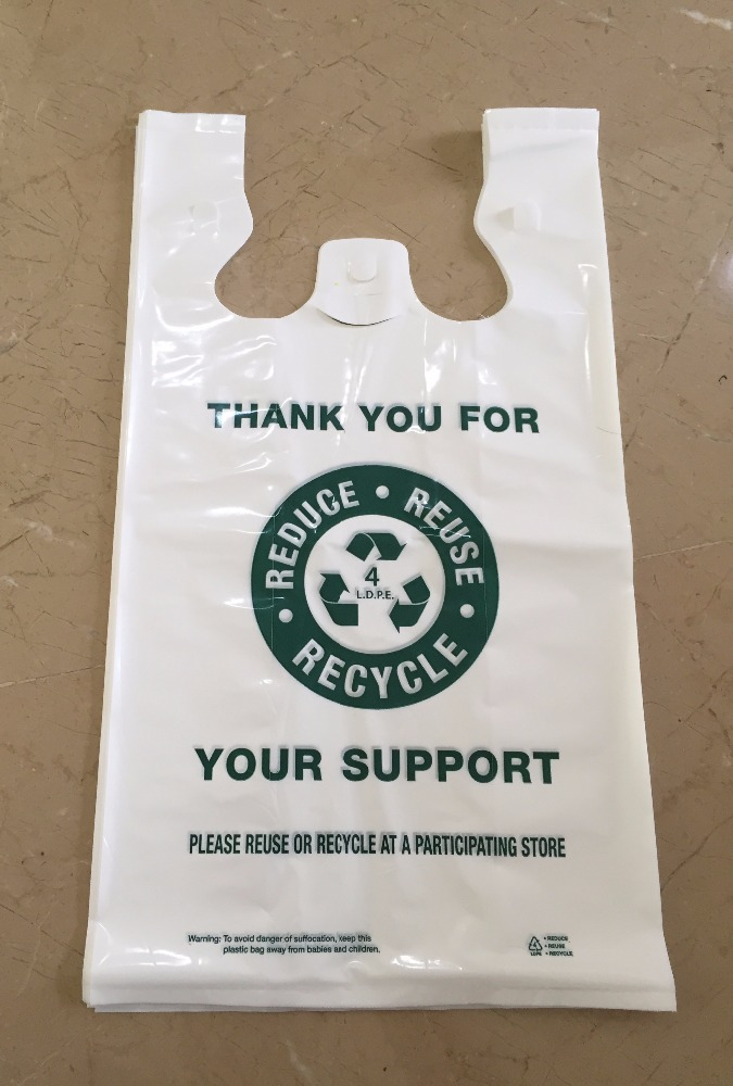 HDPE / LDPE Plastic T-Shirt Stock Bags for Supermarkets, Grocery Stores and Liquor Stores