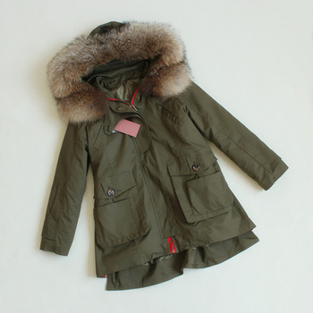 TOP Quality New 2015 Winter Jacket Coat Women'S Parkas Army Green Large Fur Collar Hooded Woman Outwear Loose Clothing