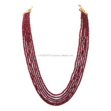325cts 6 Line REAL Red Ruby Beads Necklace for Women with extendable Rope Thread