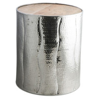 Aluminum side tables with wooden top