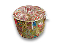 Indian cotton stool pouf cover Patchwork Ottoman Pouffe cover Round pouf