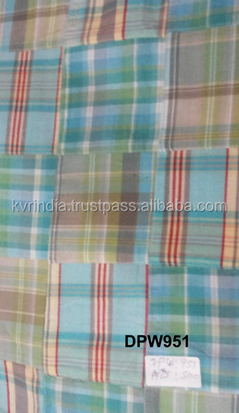 Madras Check Patchwork handmade pure fabrics For Coat