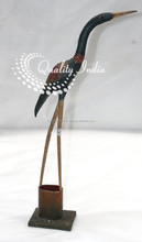 Blue Color Sleek Designer Front Facing Crane Bird Figurine