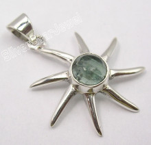 .925 Pure Silver Original GREEN APATITE GEMSTONE Pendant 3.3 CM FACTORY DIRECT