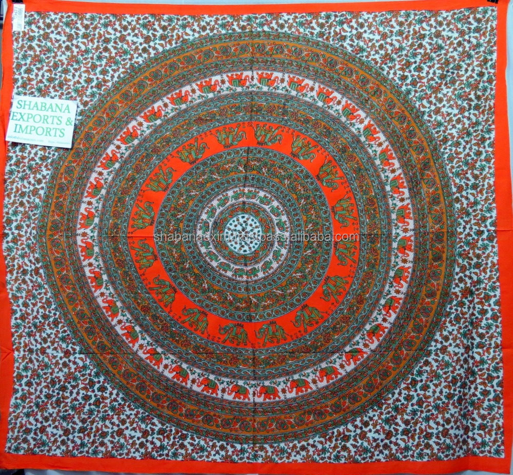 Orange mandala block printed wall decoration bed tapestry handwork woven tapestry bohemian ethnic beach decor